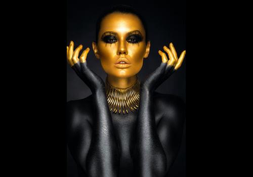 Aluminium Art - Beautiful Woman Portrait Gold Colors