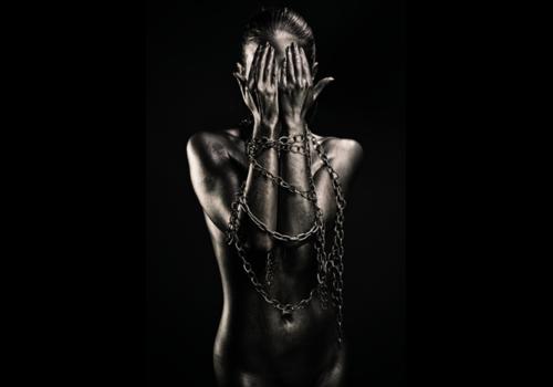 Aluminium Art - Black Woman Hands before Face