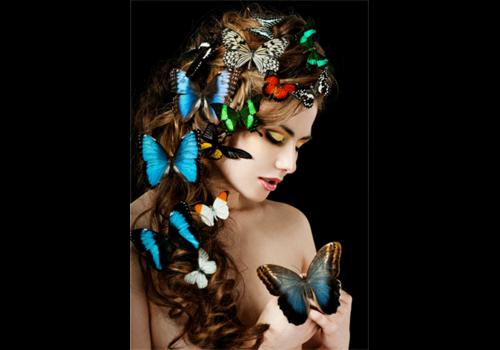 Aluminium Art - Girl with Butterflies in Hair