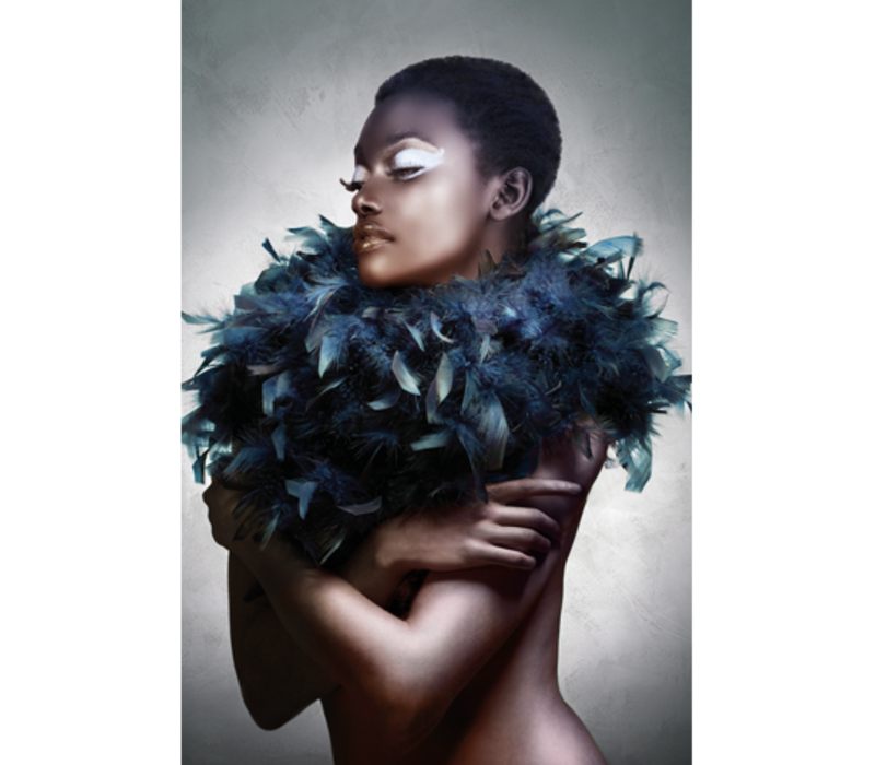Aluminium Art - Black Woman with Feathered Scarf