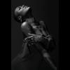 Aluminium Art - Black Woman with Bodyart black and white