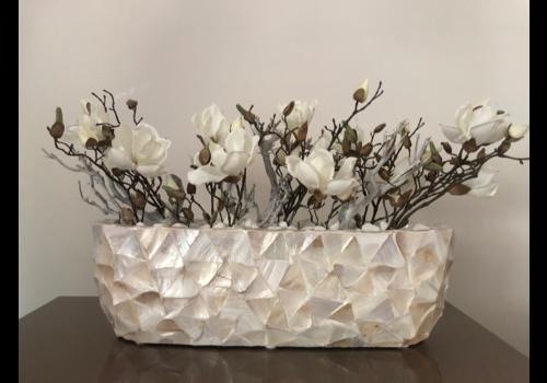 Schelpenvaas breed  met magnolia's