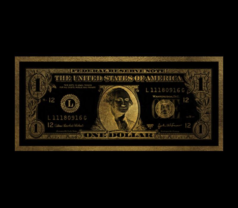 Aluminium Art - Dollar Washington Gold - 100 x 45 cm