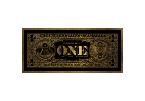 Aluminium Art - One Dollar Gold - 100 x 45 cm