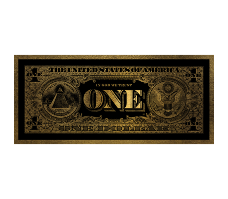 Aluminium Art - One Dollar Washington Gold - 100 x 45 cm