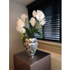 Schelpenvaas klein met orchideeën - zilver 17x24 cm