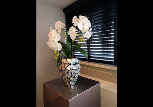 Schelpenvaas klein met orchideeën- zilver 17x24 cm