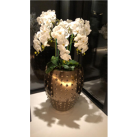 Pot brons/goud/bruin S - 54x67 cm  met orchideeën