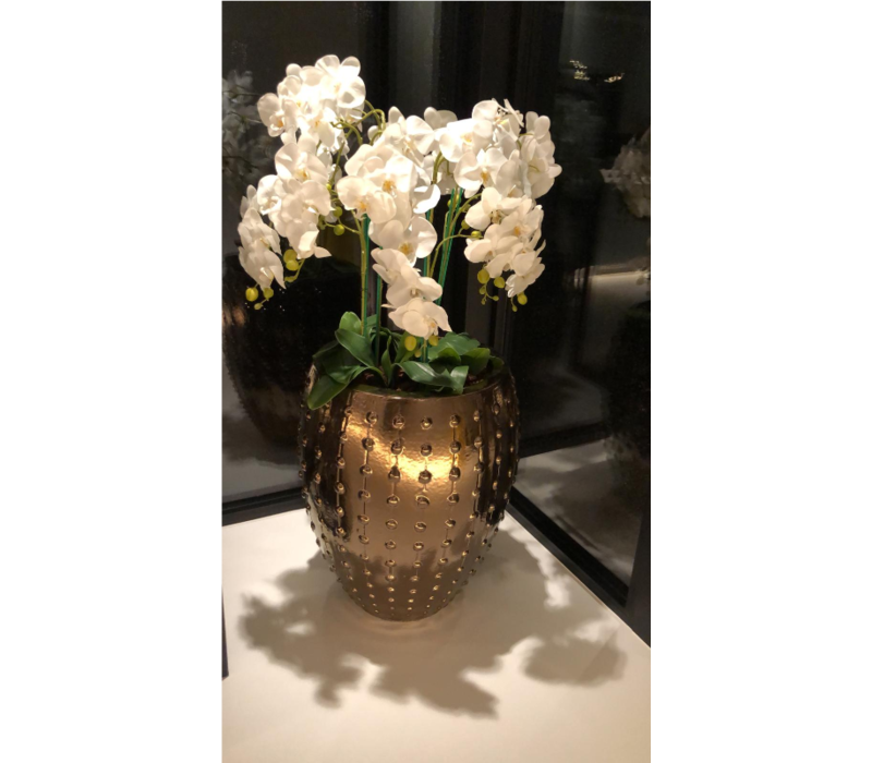 Pot brons/goud/bruin M - 54x67 cm  met orchideeën