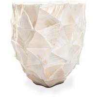 Schelpenvaas pearl ovaal - wit 60 cm met lichtroze bloesems