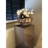 Schelpenvaas bowl - bruin 40x24 cm met magnolia's