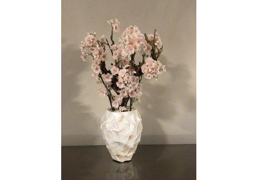 Schelpenvaas met bloesem lichtroze - wit