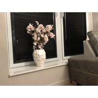 Schelpenvaas klein met bloesem lichtroze - wit  17x24cm