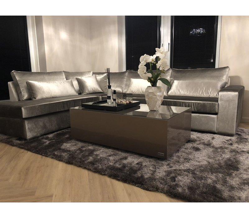 Luxe velours fluweel vloerkleed - Warm Taupe/Grey (N15)  - 290 x 200 cm
