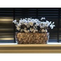 Schelpenvaas breed met witte bloesems - bruin 60 cm
