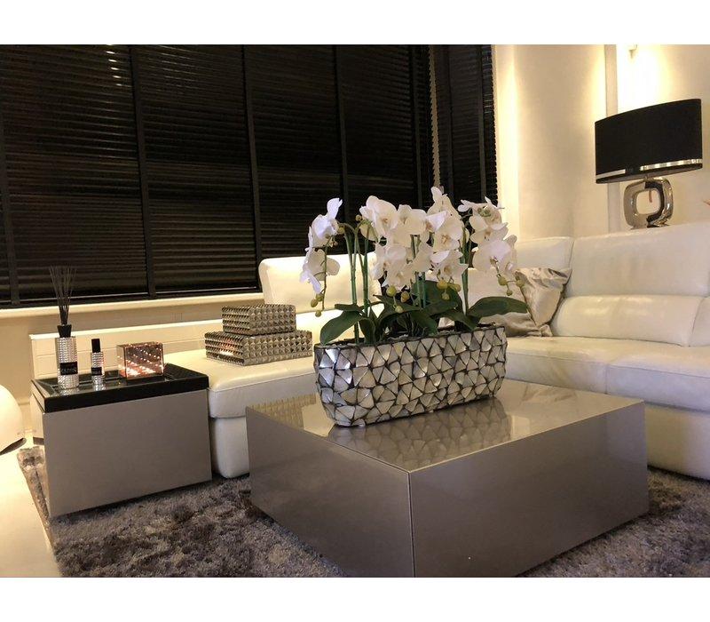 Schelpenvaas breed  met orchideëen- zilver 60 cm