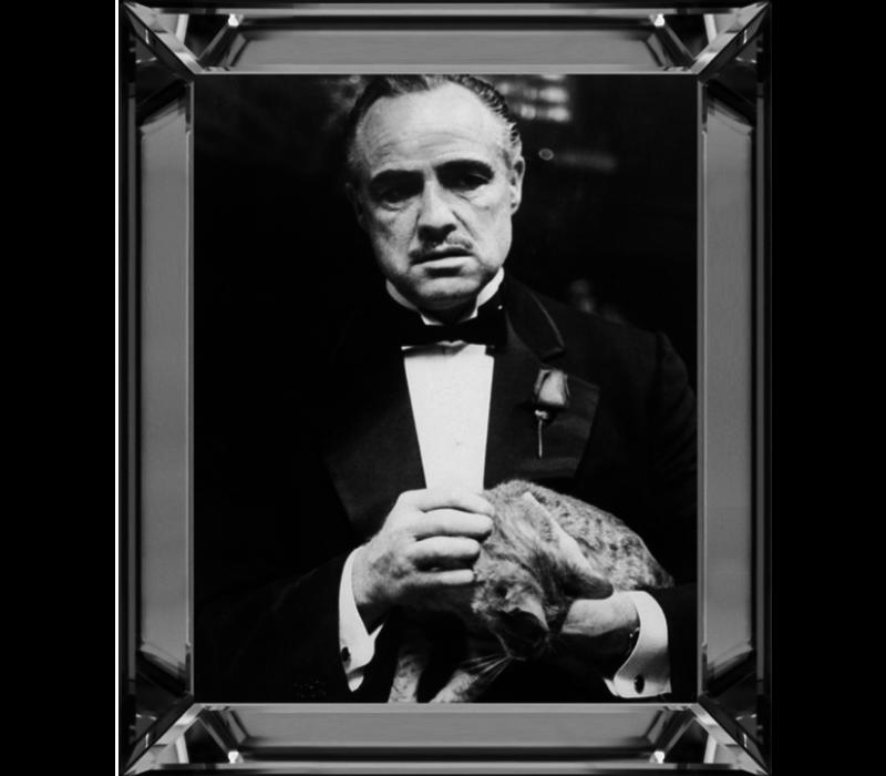 Spiegellijst  Marlon Brando Godfather The Cat  - zilver 50x60