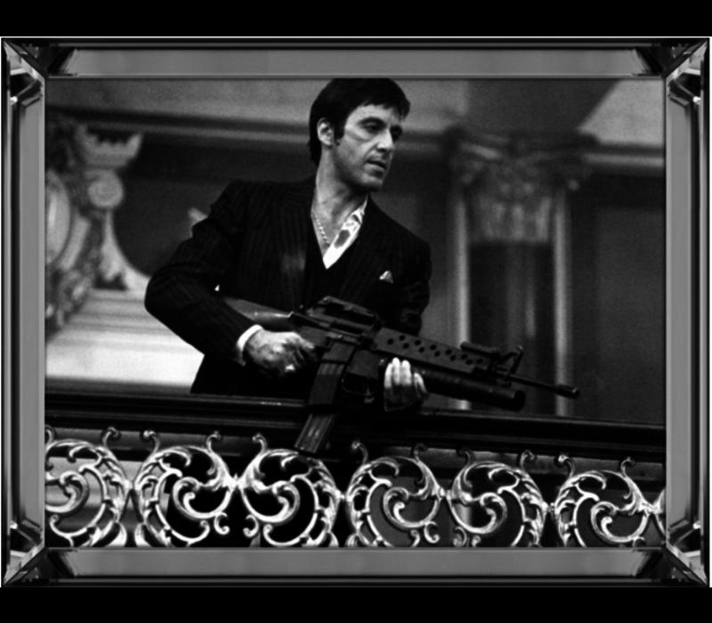 Spiegellijst Scarface with machinegun horizontaal - zilver 50x60