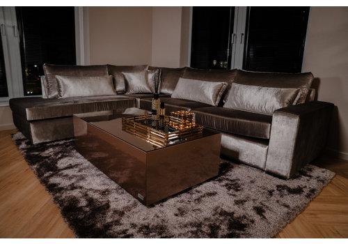 Luxe velours fluweel vloerkleed - Warm Taupe/grey - 290 x 200 cm