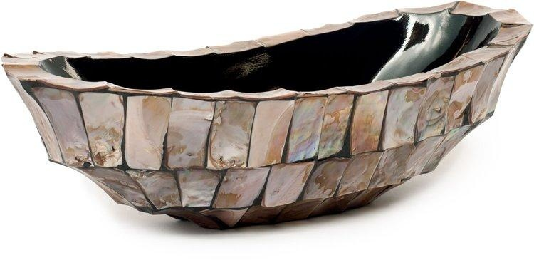 Schelpenvaas kleine boot bruin - Eric Kuster stijl
