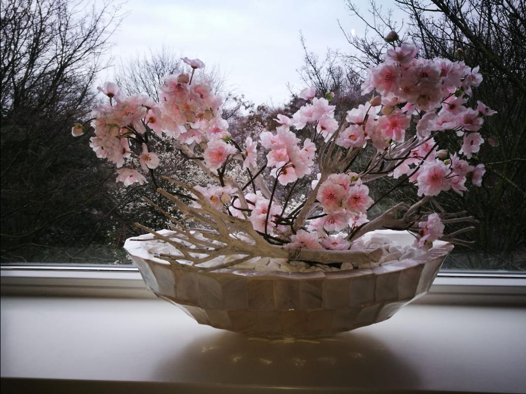 Schelpenvaas kleine boot magnolia