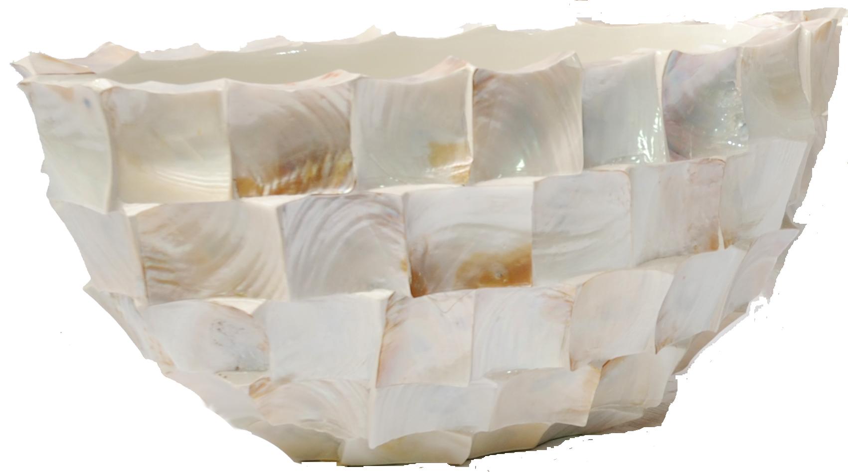 Schelpenvaas ovaal wit 60 cm