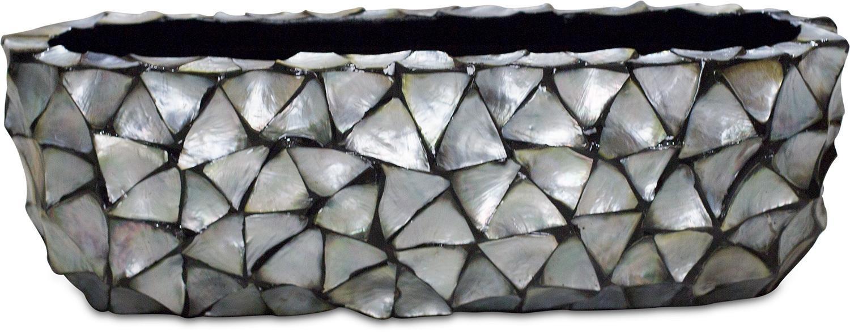 Schelpenvaas bloembak breed zilver