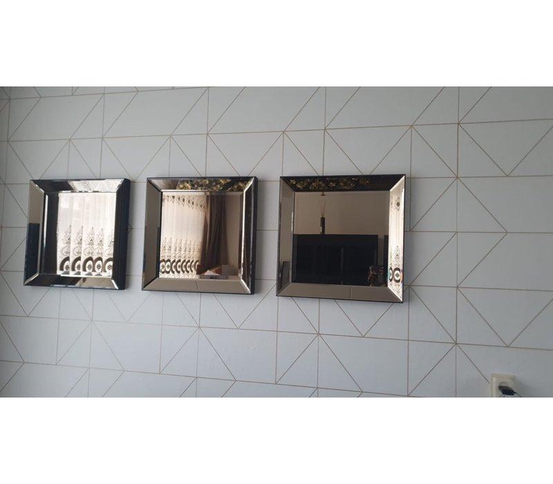 Voordeelset spiegellijsten - 3 spiegels brons 50 x 50 cm