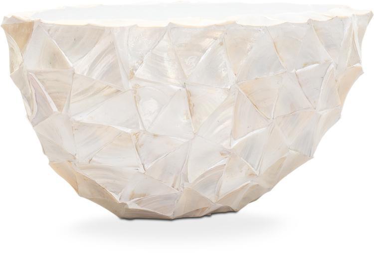 Schelpenvaas ovaal wit 60 cm driehoekige schelpen