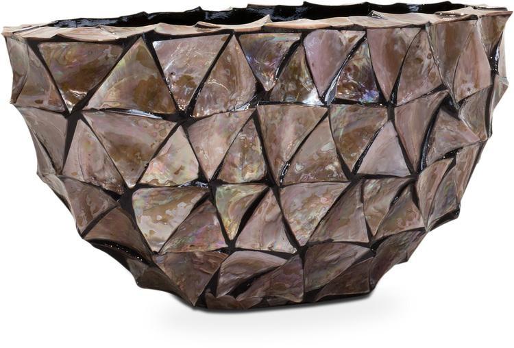 Schelpenvaas ovaal boot 60 cm bruin driehoekige schelpen