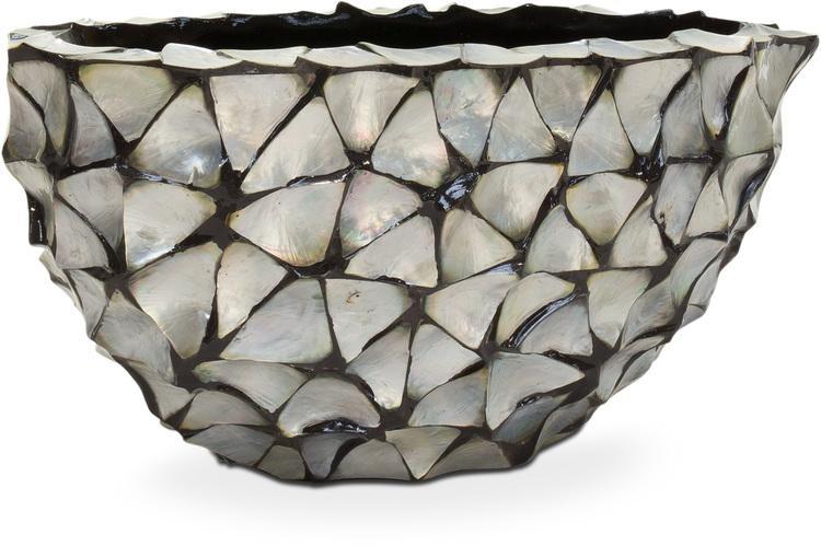 Schelpenvaas ovaal boot 60 cm zilver driehoekige schelpen