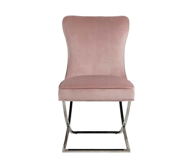 Richmond Scarlett pink velvet eetkamerstoel - roze