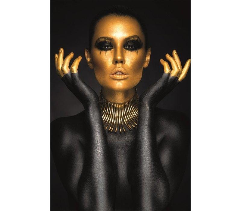 Glasschilderij- Gouden gezicht vrouw 120x80 cm