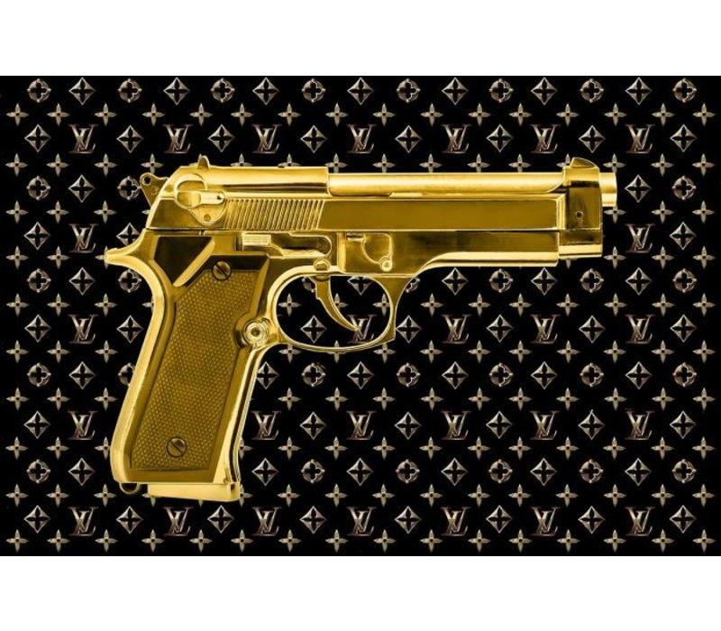 Glasschilderij- Gouden pistool goudfolie 120x80 cm
