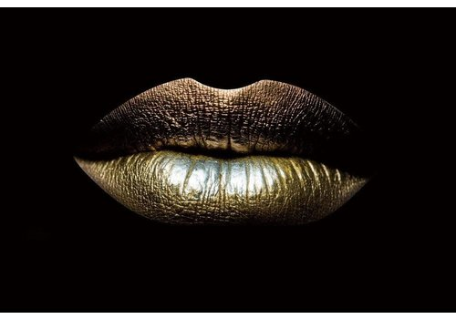 Glasschilderij- Gouden lippen 200 x 80 cm