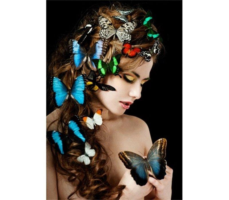 Glasschilderij- Vrouw met vlinders in haar 120x80 cm
