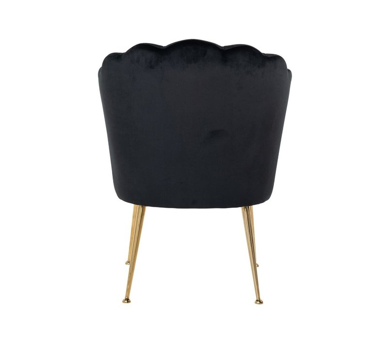 Richmond Pippa black gold velvet eetkamerstoel - zwart