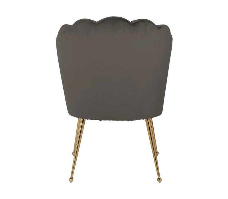 Richmond Pippa stone gold velvet eetkamerstoel - bruin
