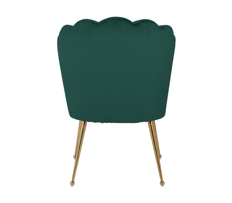 Richmond Pippa green gold velvet eetkamerstoel - groen