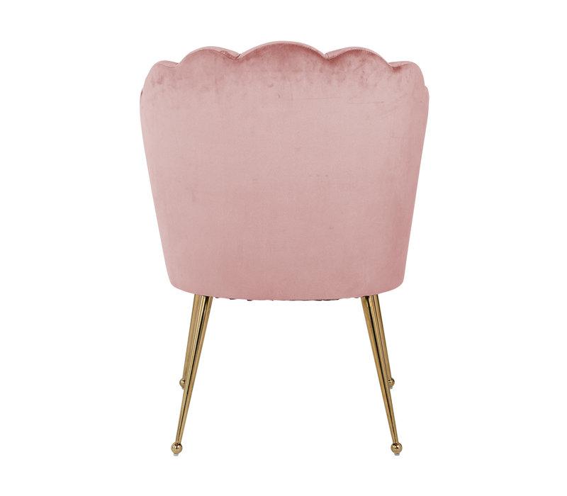 Richmond Pippa pink gold velvet eetkamerstoel - roze