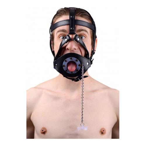 Master Series Leren hoofd harnas met mondknevel