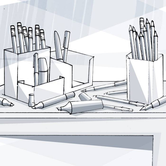 Stifte: Füller, Kugelschreiber, Tintenroller, Fasermaler, Gelschreiber, Bleistifte, Buntstifte, Textmarker