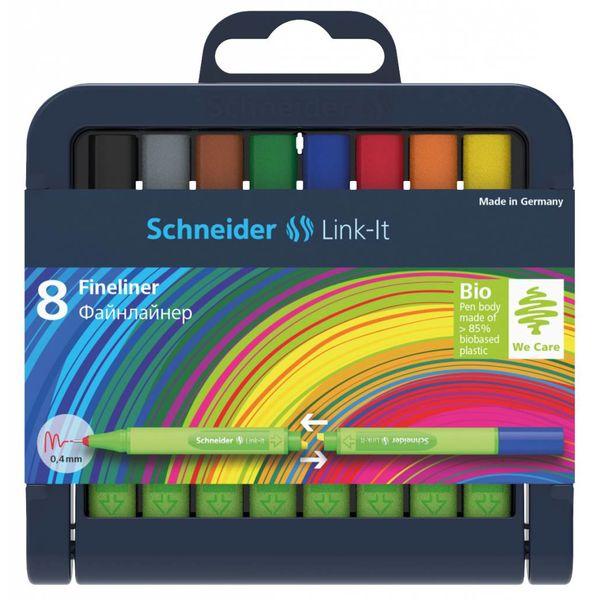 Schneider Schreibgeräte Schneider 8er-Stiftebox Fineliner Link-It, farbig sortiert