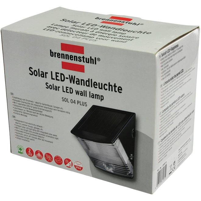 Brennenstuhl Solar White 2 LED's Muurlamp IP44 Black