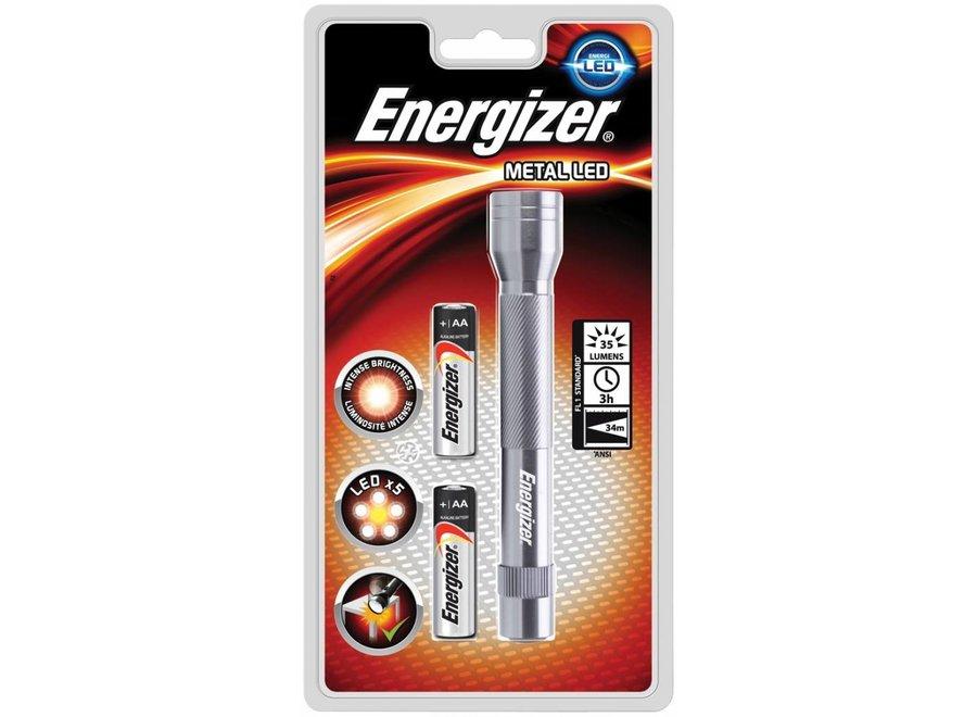 Energizer Metalen LED Zaklamp + 2x AA Batterijen