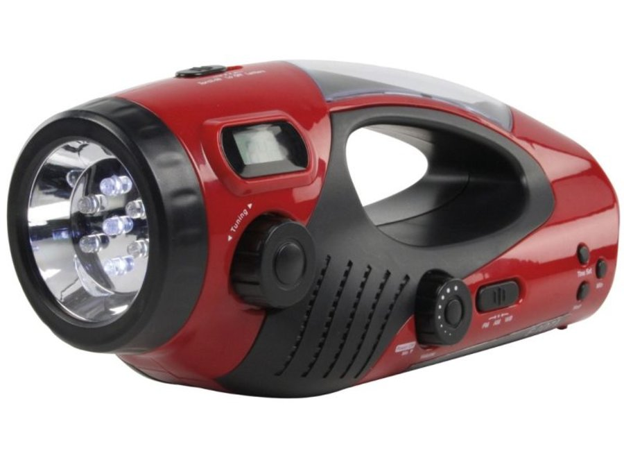 HQ Dynamolamp met Ingebouwde Radio, 7 LED's Zaklamp, LCD Klok en 5 LED's Noodverlichting
