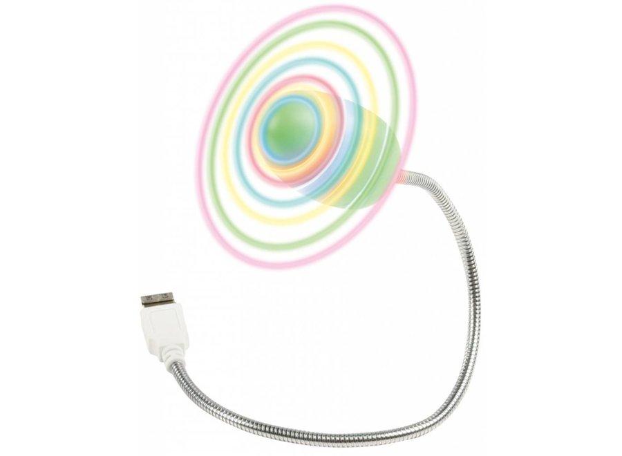 Fixapart USB Ventilator met Flexibele Zwanenhals met Gekleurde LED's