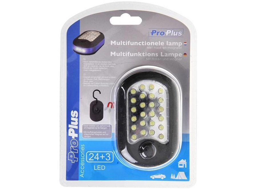 ProPlus Handige 24+3 LED Zaklamp met Haak en Magneet
