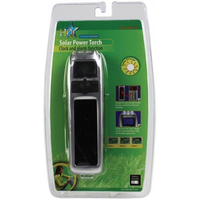 HQ 3-IN-1 Solar Mini Zaklamp met Klok-en Alarmfunctie