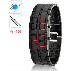 Merkloos Digitale Red LED Iron Samurai Design Horloge Black